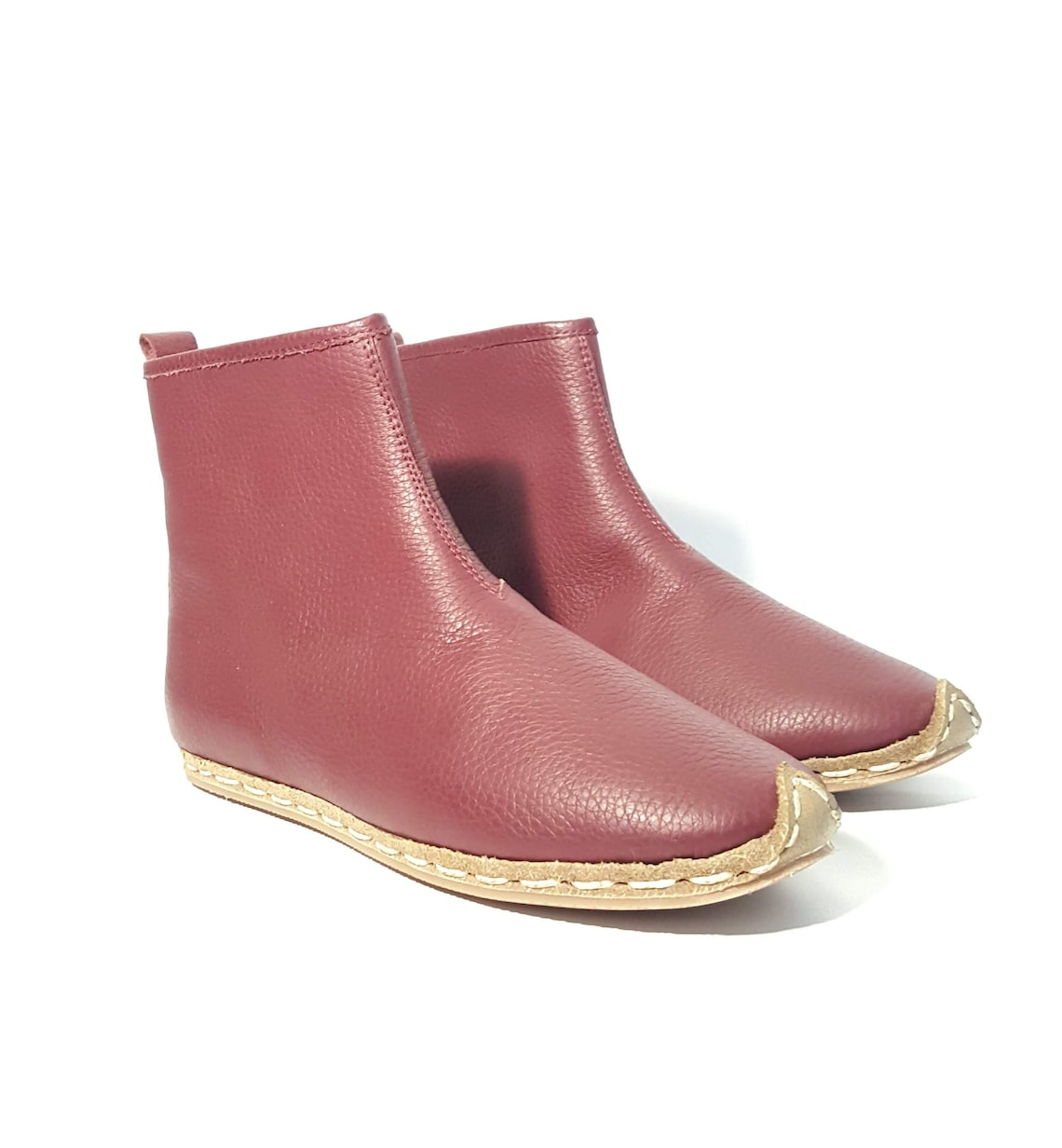In Stock Handmade Burgundy Women's Boots Organic Dye 100% Leather Flat Slip Ons Women Ankle Boots Booties Earthing Grounding Shoes