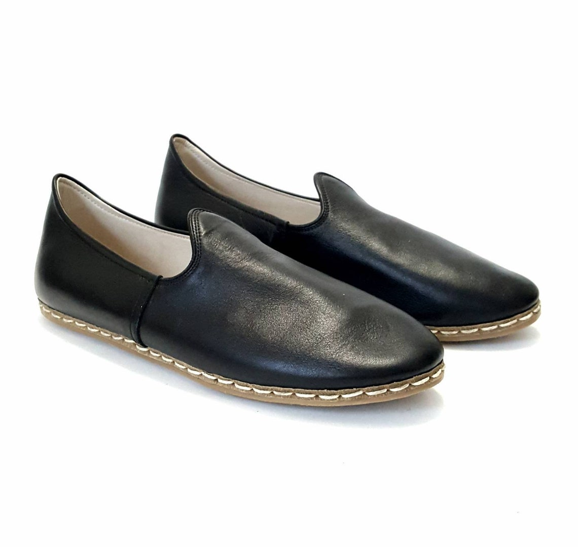 Closeout In Stock Handmade Black Organic Dye 100% Leather Flat Slip Ons Men Loafers Emir Classic Earthing Grounding Shoes