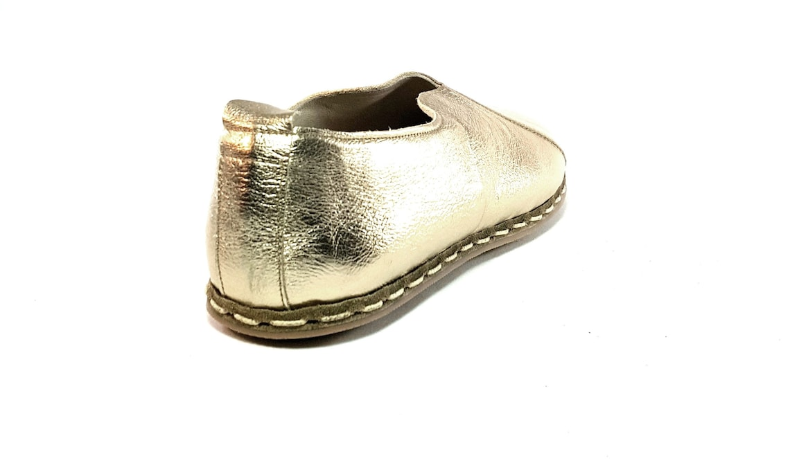 Made To Order Women's Handmade Gold Organic Dye 100% Leather Flat Slip Ons Women Loafers Earthing Grounding Shoes
