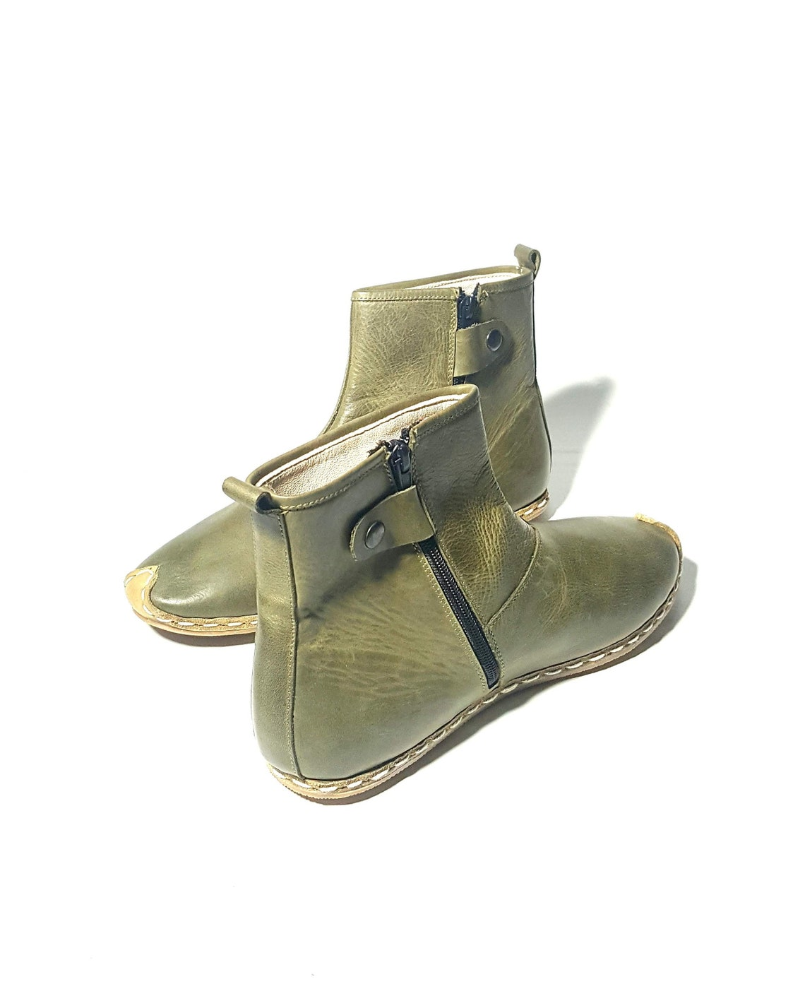In Stock Handmade Green Women's Boots Organic Dye 100% Leather Flat Slip Ons Women Ankle Booties Boots Earthing Grounding Shoes