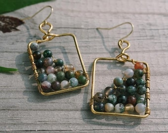 Gold Square Wire-wrapped Earrings with Glass Beads