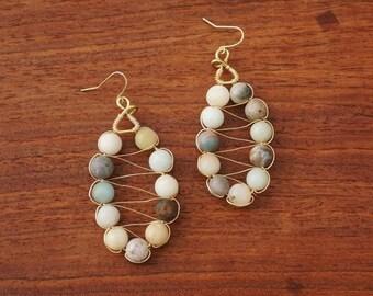 Oval, Wire-Wrapped Beaded Earrings