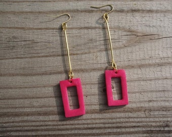 Pink Clay Earrings with Gold Wire