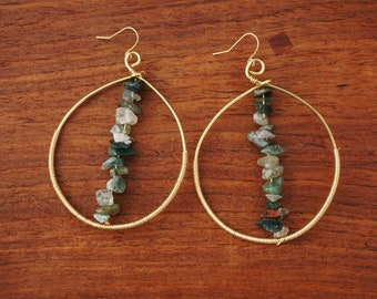 Gold Color Oval Wire Wrapped Earrings