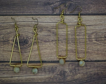 Geometric Earrings with Round Stone