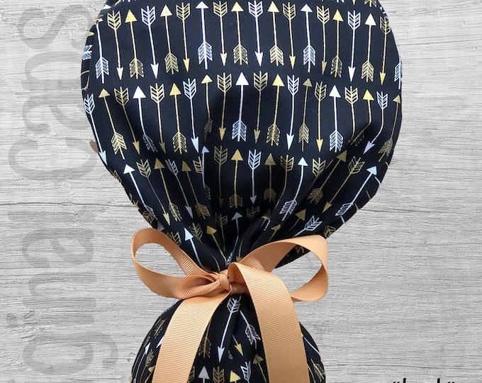 "Black and Gold Arrow Print Ponytail Scrub Cap for Women, Scrub Hat, Surgical Hat, Scrub Cap ""Leah"", Surgical Caps"