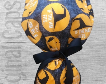"""Halloween Ponytail Scrub Cap for Women, Scrub Hat, Surgical Hat """"If the Hat Fits"""", Surgical Caps"""