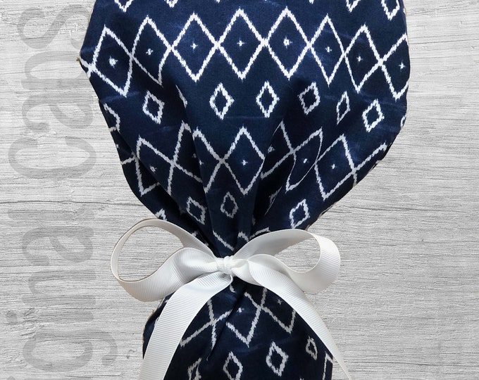 """Navy and White Geometric Print Ponytail Scrub Cap for Women, Scrub Hat, Surgical Hat """"Lacey"""", Surgical Caps"""