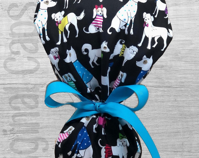 """Dapper Dogs Print Ponytail Scrub Cap for Women, Scrub Hat, Surgical Hat """"Izzy"""", Surgical Caps"""