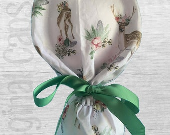 """Cute Deer and Fun Floral Design Ponytail Scrub Cap for Women, Scrub Hat, Surgical Hat """"Ophelia"""", Surgical Caps"""