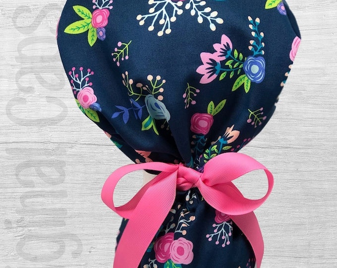 """Pink, Peach, Turq, Green, and Blue Floral on Navy Background Design Ponytail Scrub Cap for Women, Scrub Hat, Surgical Caps """"Hannah"""""""