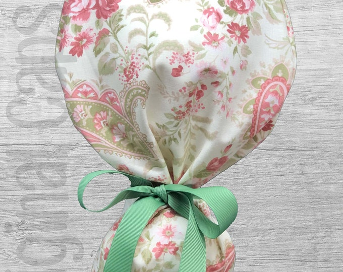 """Rose Paisley Print Ponytail Scrub Cap for Women, Scrub Hat, Surgical Hat """"Pearl"""", Surgical Caps"""