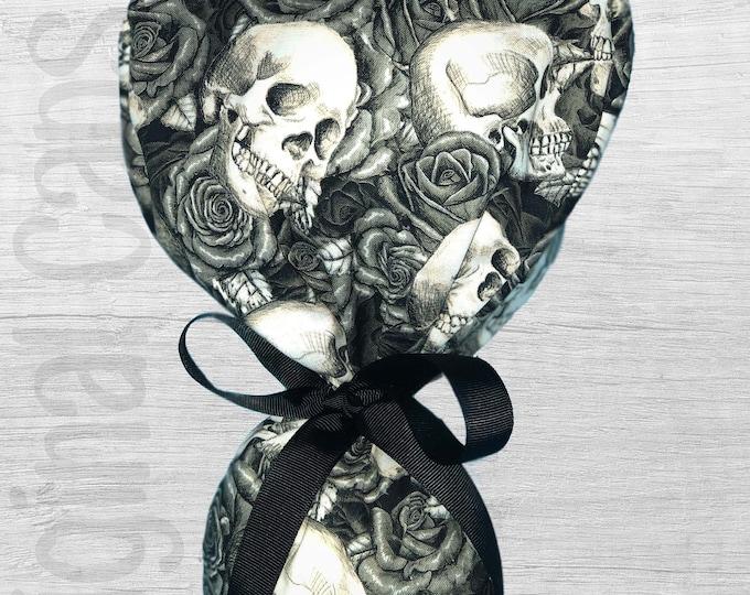 "Skulls n Roses Ponytail Scrub Cap for Women, Scrub Hat, Surgical Hat ""Axl"""