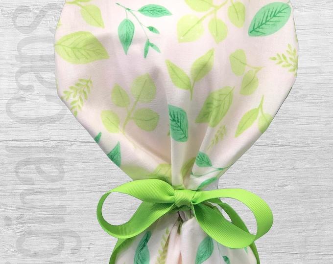 "Leaves on Light Pink Design Ponytail Scrub Cap for Women, Scrub Hat, Surgical Hat ""Belinda"", Surgical Caps"