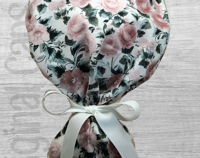 """Mauve Rose Print Ponytail Scrub Cap for Women, Scrub Hat, Surgical Hat """"Kingsley"""", Surgical Caps"""