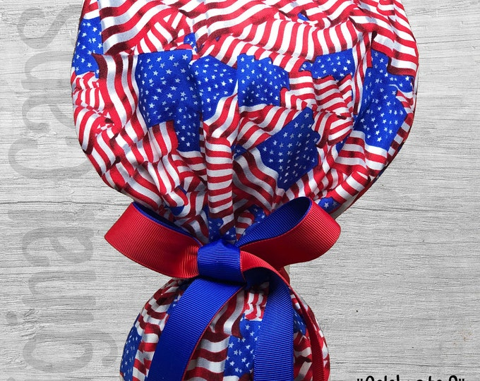 """Patriotic Flags 4th of July Print Ponytail Scrub Cap for Women, Scrub Hat, Surgical Hat """"Celebrate 3"""", Surgical Caps"""