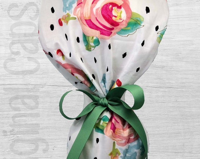 """Watercolor Roses on White Design Ponytail Scrub Cap for Women, Scrub Hat, Surgical Hat """"Nora"""", Surgical Caps"""