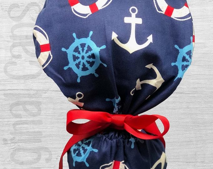 "Nautical Design Ponytail Scrub Cap for Women, Scrub Hat, Surgical Hat ""Lara"", Surgical Caps"