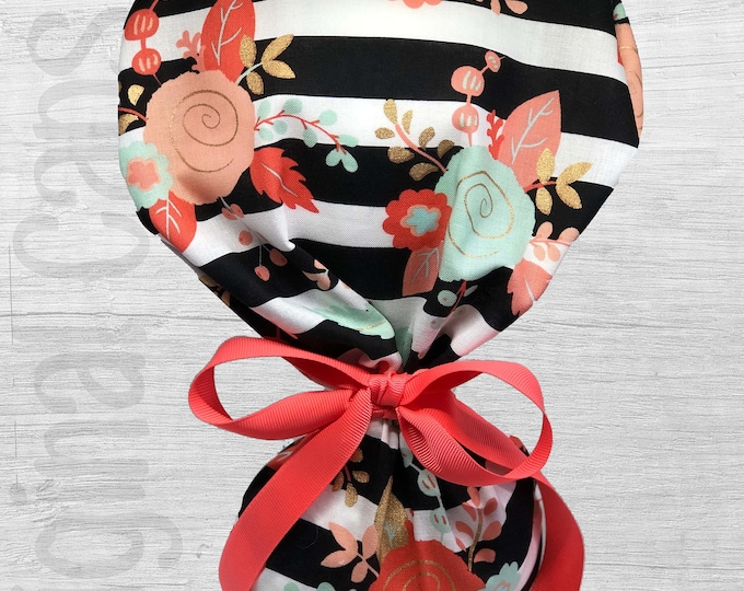 """Mint, Blush, and Gold Flowers on Black and White Stripe Design Ponytail Scrub Cap for Women, Scrub Hat, Surgical Hat """"Poppy"""", Surgical Caps"""