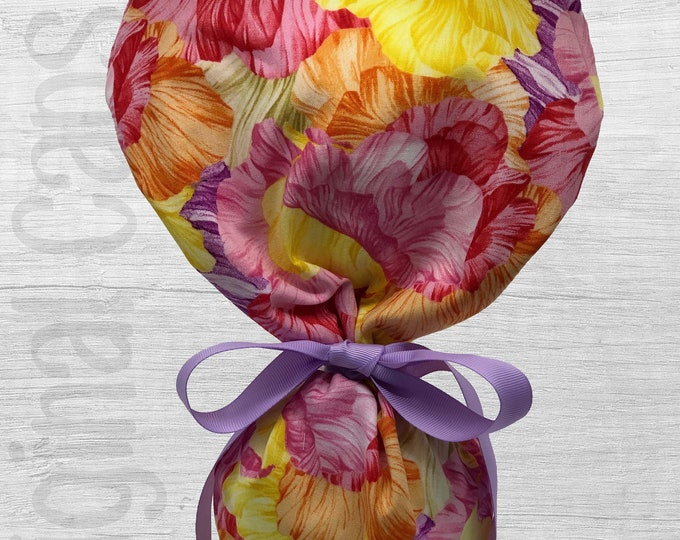"Yellow, Orange, Pink. Purple Petals Design Ponytail Scrub Cap for Women, Scrub Hat, Surgical Hat ""Kate"", Surgical Caps"