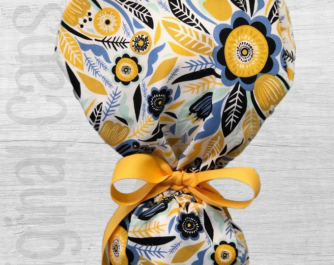 """Doodle Flowers in Cornflower, Mustard, and Black Design Ponytail Scrub Cap for Women, Scrub Hat, Surgical Hat """"Emily"""", Surgical Caps"""