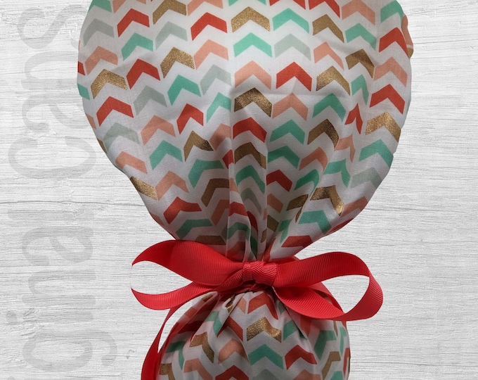 """Pastel and Gold Broken Chevron Ponytail Scrub Cap for Women, Scrub Hat, Surgical Hat """"Charlotte"""", Surgical Caps"""