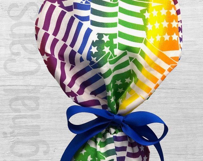 "Rainbow Flags Ponytail Scrub Cap for Women, Scrub Hat, Surgical Hat ""Eden"", Surgical Caps"