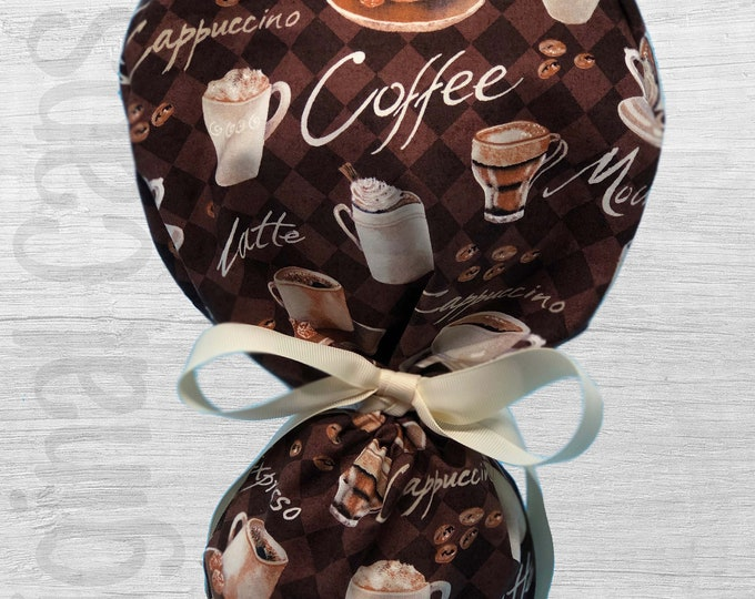 """Coffee House Design Ponytail Scrub Cap for Women, Scrub Hat, Surgical Hat """"Holly"""", Surgical Caps"""