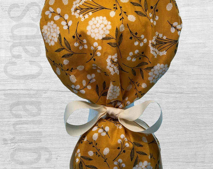 """White Flowers on Mustard Ponytail Scrub Cap for Women, Scrub Hat, Surgical Hat """"Hayley"""", Surgical Caps"""
