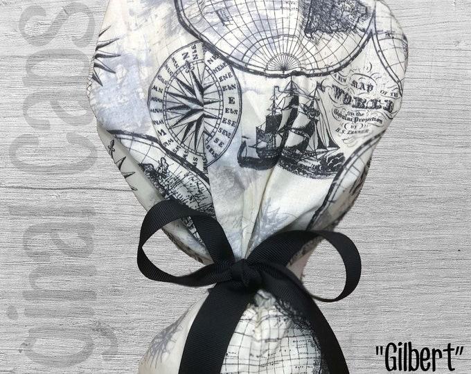 "Nautical Map Print Ponytail Scrub Cap for Women, Scrub Hat, Surgical Hat ""Gilbert"", Surgical Caps"