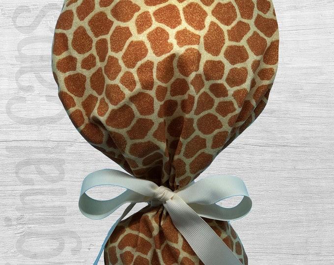 "Giraffe Print Design Ponytail Scrub Cap for Women, Scrub Hat, Surgical Hat ""Ava"", Surgical Caps"