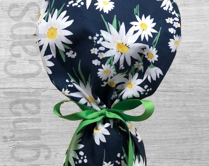 "Large Daisy Print Ponytail Scrub Cap for Women, Scrub Hat, Surgical Scrub Hats ""Benny"", Surgical Caps"