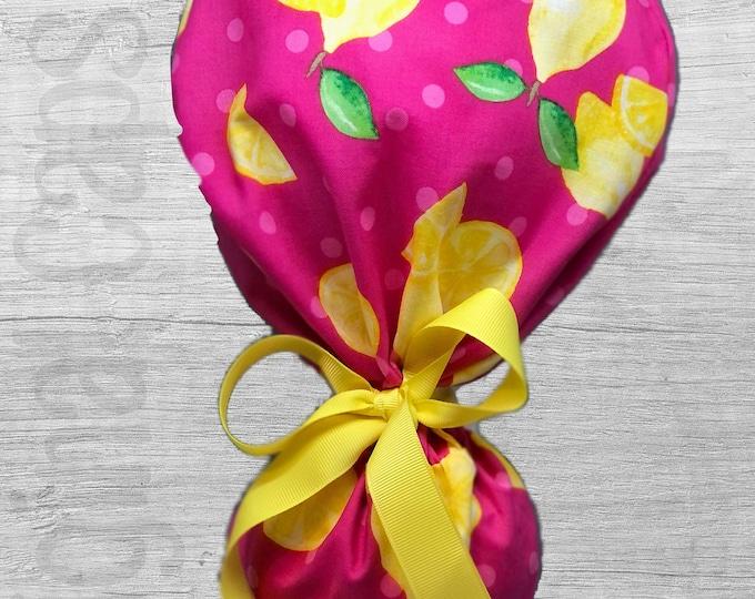 "Lemons on Hot Pink Print Design Ponytail Scrub Cap for Women, Scrub Hat, Surgical Hat ""Scarlett"", Surgical Caps"