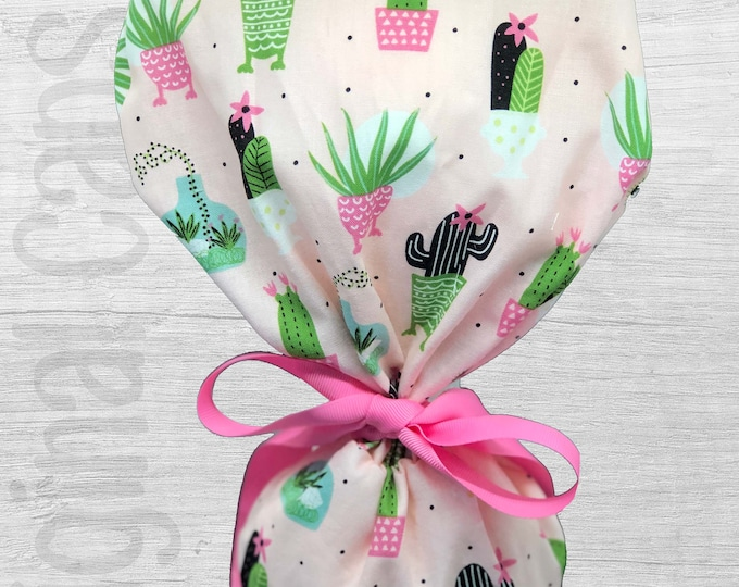 """Potted Cacti on Pink Design Scrub Cap, Surgical Cap, Scrub Cap for Women """"Rebecca"""", Surgical Caps"""
