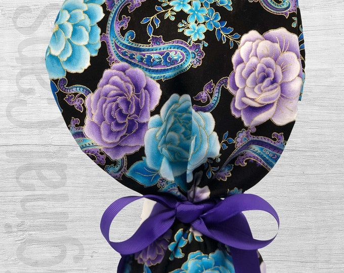 """Blue and Purple Floral/Paisley Design Ponytail Scrub Cap for Women, Scrub Hat, Surgical Hat """"Kelly"""