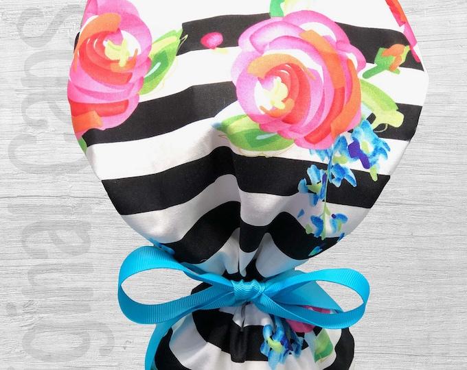 "Large Watercolor Flowers on Stripes Design Scrub Cap, Surgical Cap, Scrub Cap for Women ""Rachel"", Surgical Caps"