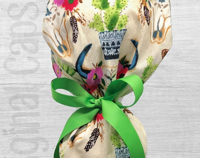 """Dessert Cowgirl Design Ponytail Scrub Cap for Women, Scrub Hat, Surgical Hat """"Kimberly"""", Surgical Caps"""