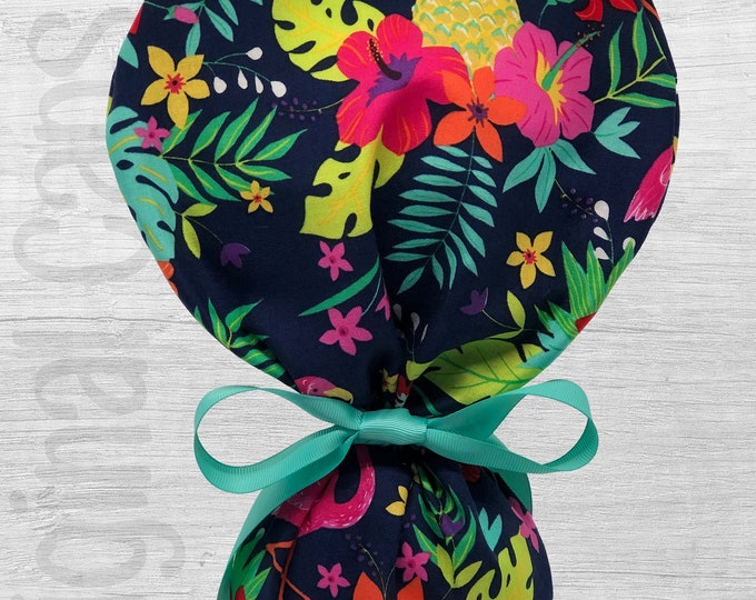 "Tropical Leaves and  Flamingo Design Ponytail Scrub Cap for Women, Scrub Hat, Surgical Hat ""Nani"""
