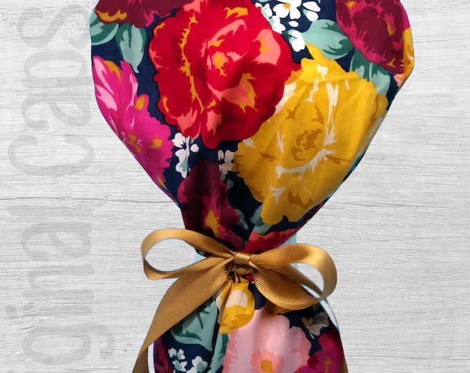 """Vibrant Large Multi Colored Flowers Design Ponytail Scrub Cap for Women, Scrub Hat, Surgical Hat """"Kayla"""", Surgical Caps"""