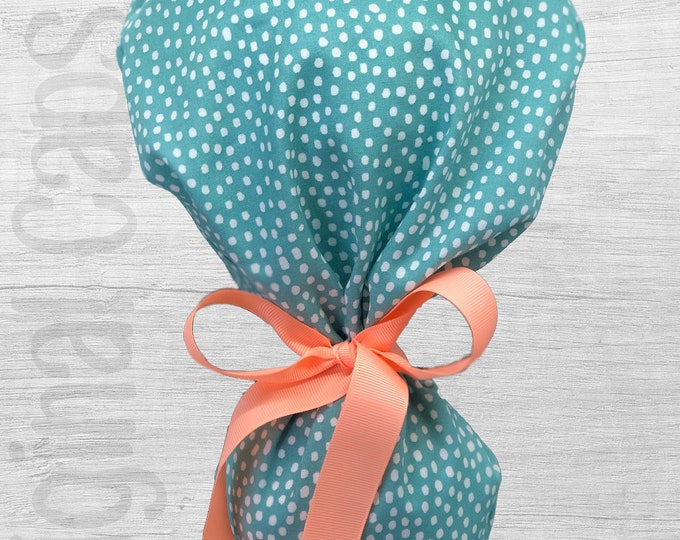 """Teal Background with White Dots Ponytail Scrub Cap for Women, Scrub Hat, Surgical Hat """"Eliza"""""""