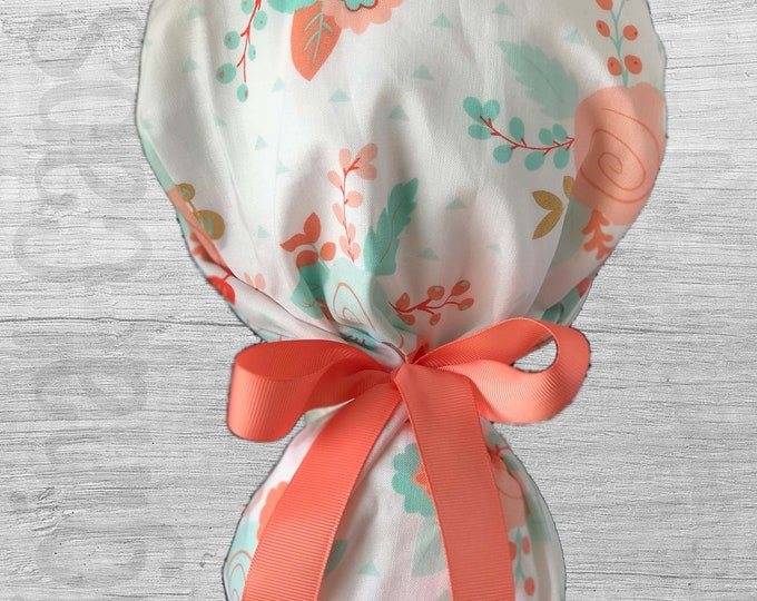 """Coral and Mint Floral on White Ponytail Scrub Cap for Women, Scrub Hat, Surgical Hat """"Bialee"""", Surgical Caps"""