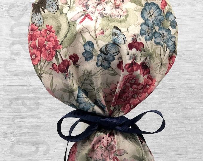"Botanical Bouquet with Butterflies Design Ponytail Scrub Cap for Women, Scrub Hat, Surgical Hat ""Karen"", Surgical Caps"