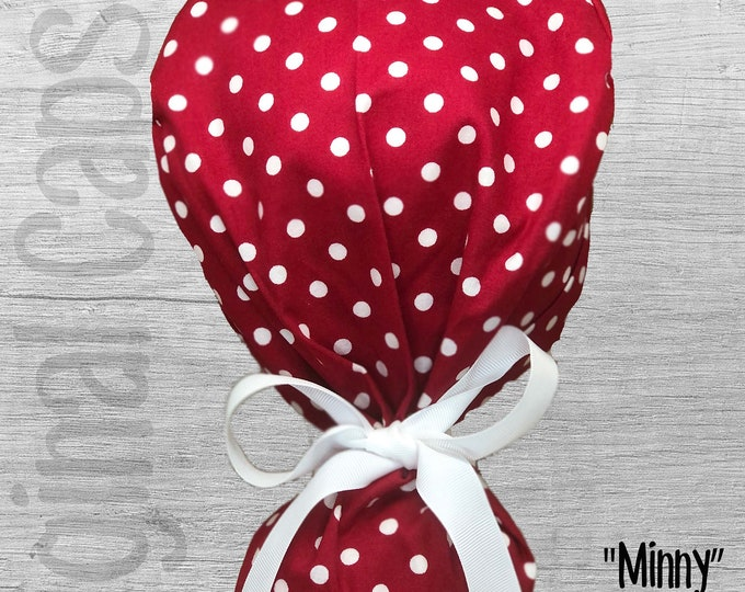 """White Dots on Red Print Ponytail Scrub Cap for Women, Scrub Hat, Surgical Hat """" Minny"""", Surgical Caps"""