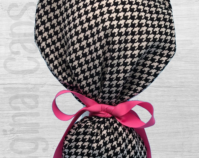 """Classic Houndstooth Print Ponytail Scrub Cap for Women, Scrub Hat, Surgical Hat """"Elaine"""", Surgical Caps"""