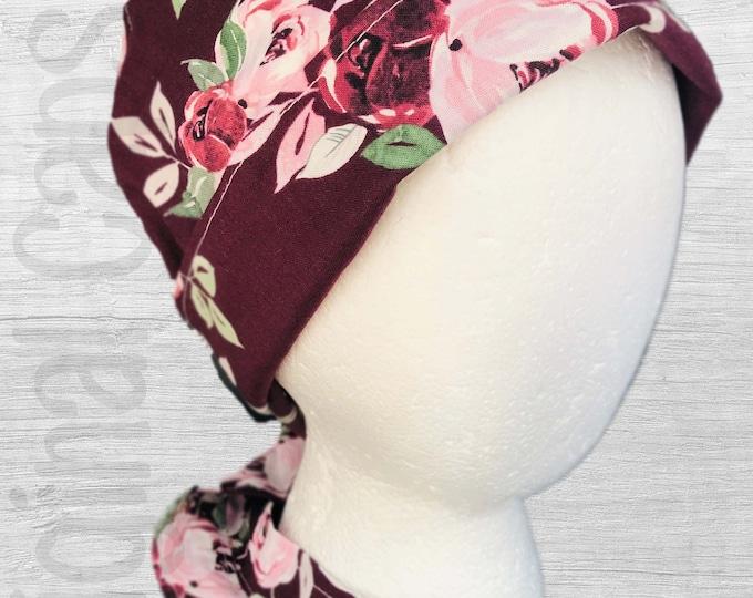 "Burgundy Background with Large Roses Design Scrub Cap, Surgical Cap, Scrub Hat, Scrub cap for Women, Pixie Scrub Cap ""Mari"""