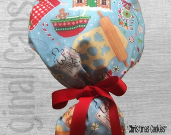 """Christmas Ponytail Scrub Cap for Women, Scrub Hat, Surgical Hat """"Christmas Cookies"""", Surgical Caps"""