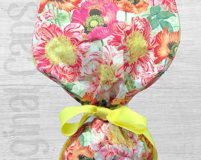 "Garden Floral Medley Design Ponytail Scrub Cap for Women, Scrub Hat, Surgical Hat ""Erica"", Surgical Caps"