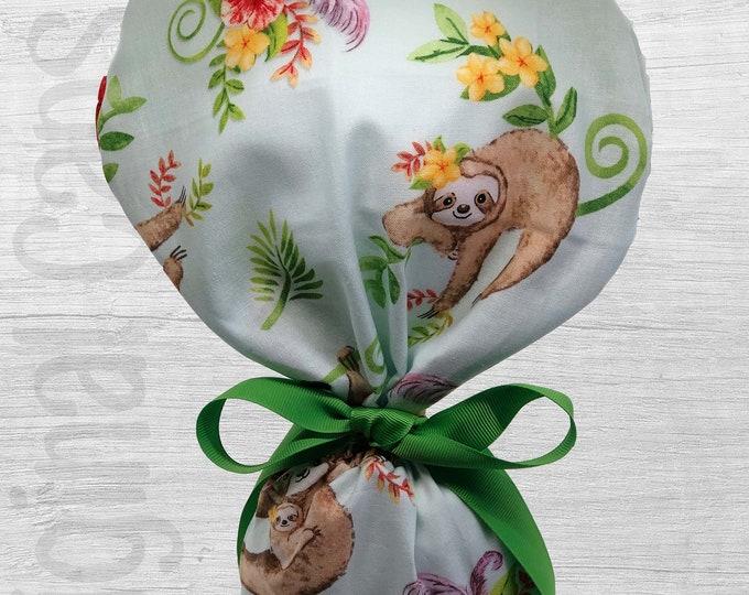 "Tropical Sloths Design Ponytail Scrub Cap for Women, Scrub Hat, Surgical Hat ""Kristen"", Surgical Caps"