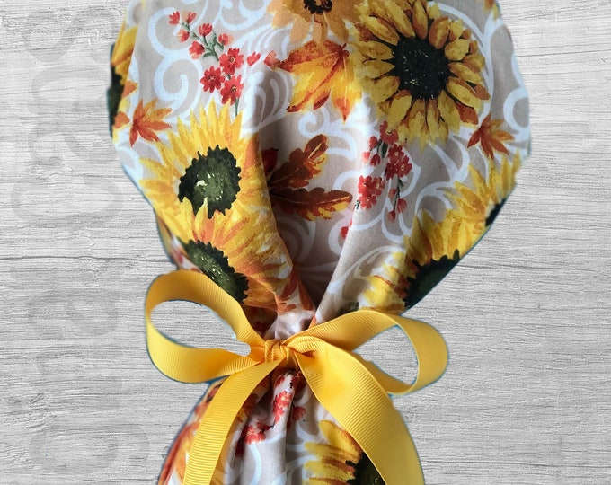 """Sunflowers on Scroll Lattice Ponytail Scrub Cap for Women, Scrub Hat, Surgical Hat """"Ivy"""", Surgical Caps"""
