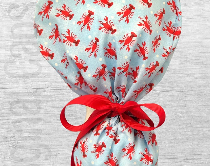 """Mini Lobsters on Blue Design Ponytail Scrub Cap for Women, Scrub Hat, Surgical Hat """"Lizzie"""""""